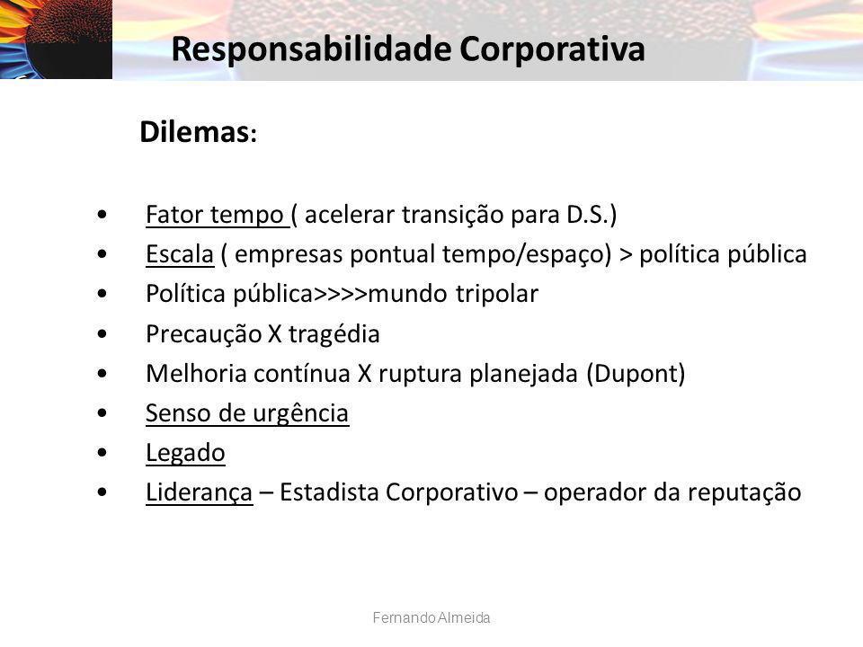 Dilemas : Fator tempo ( acelerar transição para D.S.) Escala ( empresas pontual tempo/espaço) > política pública Política pública>>>>mundo tripolar Pr