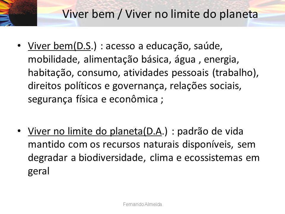 Viver bem / Viver no limite do planeta Viver bem(D.S.) : acesso a educação, saúde, mobilidade, alimentação básica, água, energia, habitação, consumo,