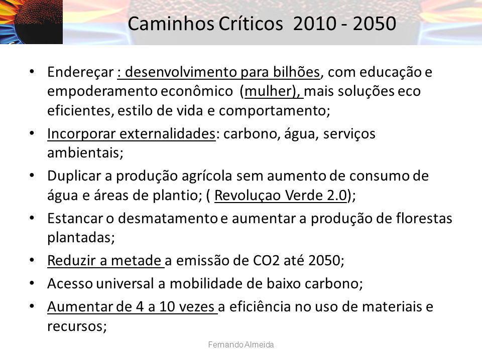 Caminhos Críticos 2010 - 2050 Endereçar : desenvolvimento para bilhões, com educação e empoderamento econômico (mulher), mais soluções eco eficientes, estilo de vida e comportamento; Incorporar externalidades: carbono, água, serviços ambientais; Duplicar a produção agrícola sem aumento de consumo de água e áreas de plantio; ( Revoluçao Verde 2.0); Estancar o desmatamento e aumentar a produção de florestas plantadas; Reduzir a metade a emissão de CO2 até 2050; Acesso universal a mobilidade de baixo carbono; Aumentar de 4 a 10 vezes a eficiência no uso de materiais e recursos; Fernando Almeida
