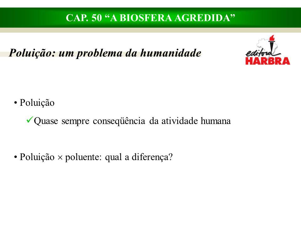 CAP. 50 A BIOSFERA AGREDIDA Poluição Quase sempre conseqüência da atividade humana Poluição poluente: qual a diferença? Poluição: um problema da human