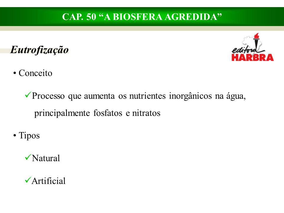 CAP. 50 A BIOSFERA AGREDIDA Eutrofização Conceito Processo que aumenta os nutrientes inorgânicos na água,..principalmente fosfatos e nitratos Tipos Na