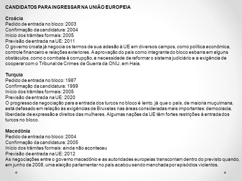 CANDIDATOS PARA INGRESSAR NA UNIÃO EUROPEIA Croácia Pedido de entrada no bloco: 2003 Confirmação da candidatura: 2004 Início dos trâmites formais: 200