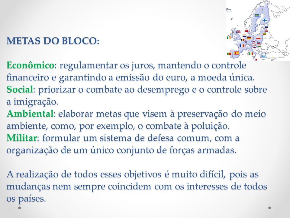 METAS DO BLOCO: Econômico: regulamentar os juros, mantendo o controle financeiro e garantindo a emissão do euro, a moeda única. Social: priorizar o co