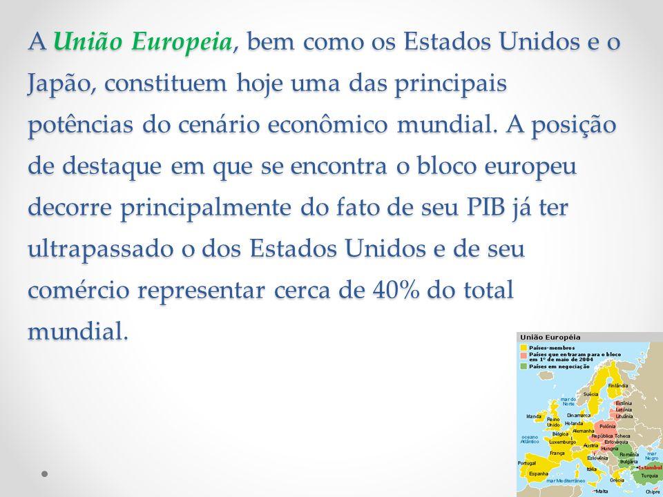 A União Europeia, bem como os Estados Unidos e o Japão, constituem hoje uma das principais potências do cenário econômico mundial. A posição de destaq