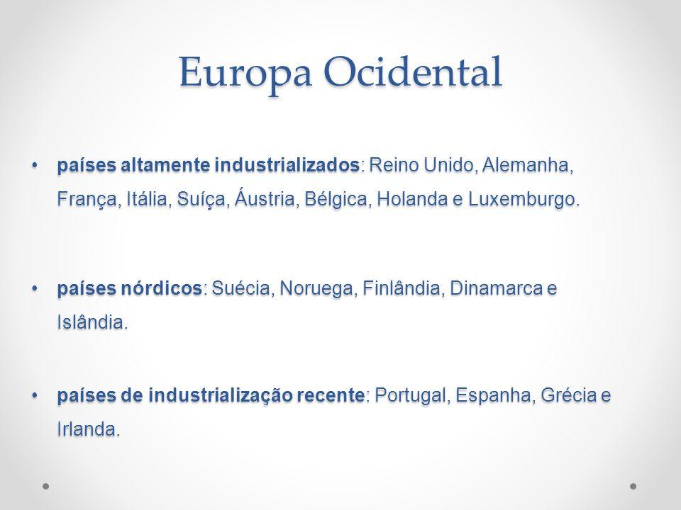 países altamente industrializados: Reino Unido, Alemanha, França, Itália, Suíça, Áustria, Bélgica, Holanda e Luxemburgo.países altamente industrializa