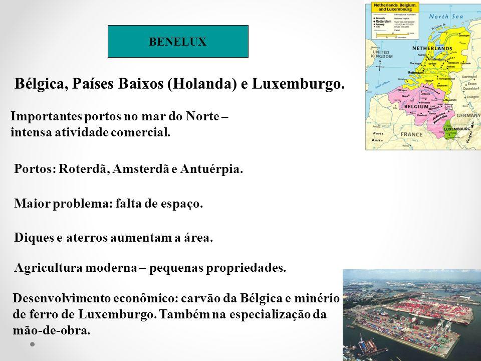 BENELUX Bélgica, Países Baixos (Holanda) e Luxemburgo. Importantes portos no mar do Norte – intensa atividade comercial. Portos: Roterdã, Amsterdã e A