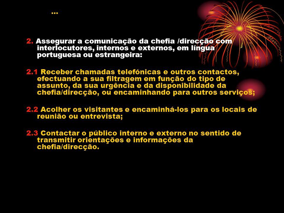 2. Assegurar a comunicação da chefia /direcção com interlocutores, internos e externos, em língua portuguesa ou estrangeira: 2.1 Receber chamadas tele