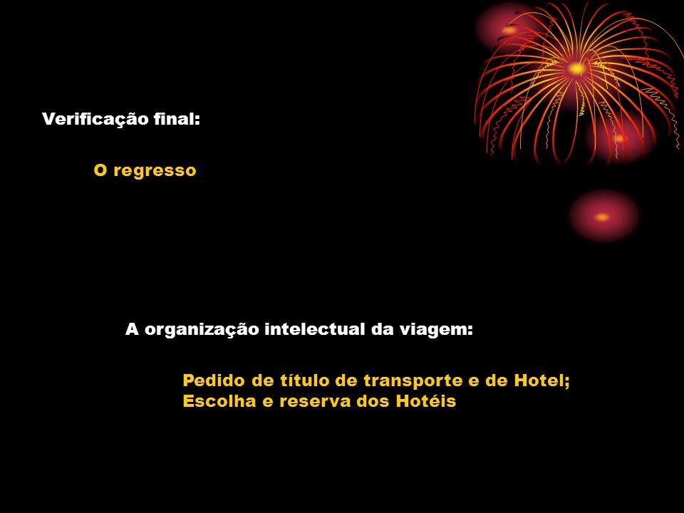 Verificação final: O regresso A organização intelectual da viagem: Pedido de título de transporte e de Hotel; Escolha e reserva dos Hotéis