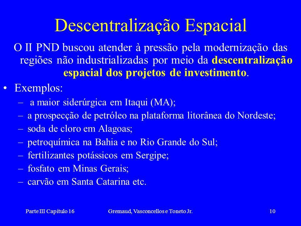 Parte III Capítulo 16Gremaud, Vasconcellos e Toneto Jr.10 Descentralização Espacial O II PND buscou atender à pressão pela modernização das regiões nã