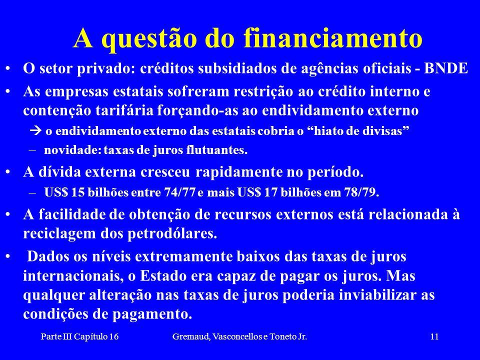 Parte III Capítulo 16Gremaud, Vasconcellos e Toneto Jr.11 A questão do financiamento O setor privado: créditos subsidiados de agências oficiais - BNDE