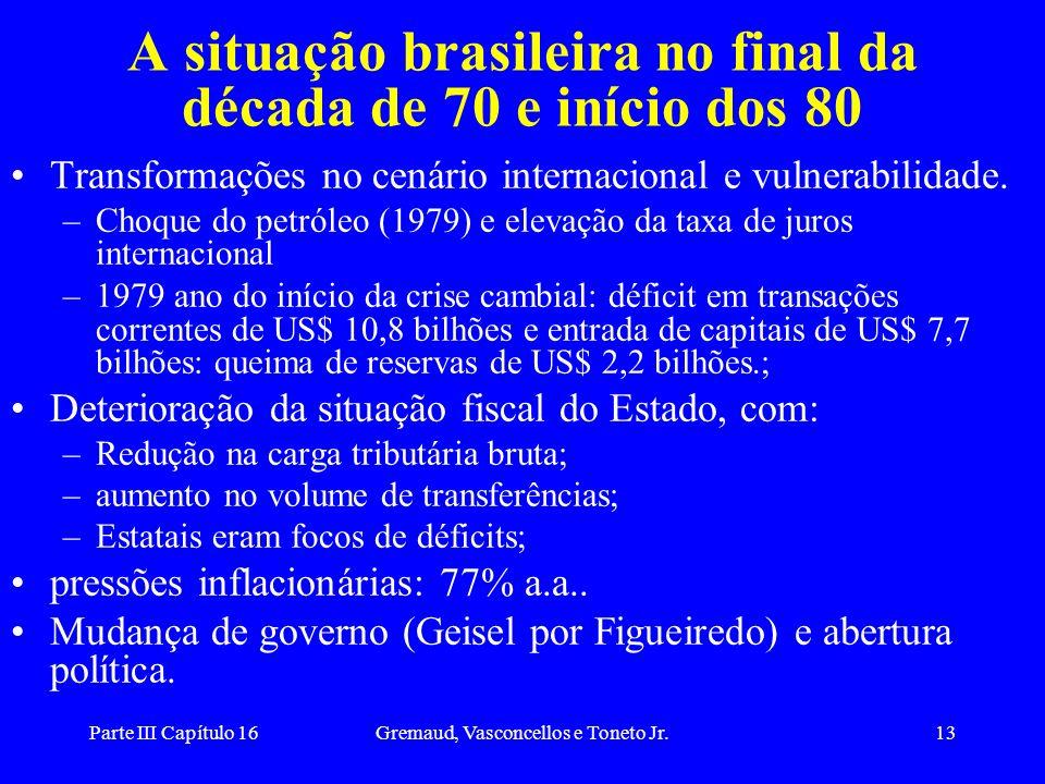 Parte III Capítulo 16Gremaud, Vasconcellos e Toneto Jr.13 A situação brasileira no final da década de 70 e início dos 80 Transformações no cenário int