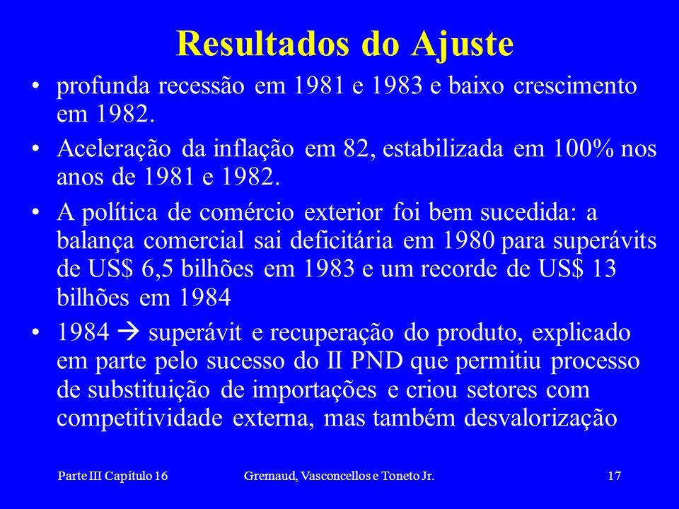 Parte III Capítulo 16Gremaud, Vasconcellos e Toneto Jr.17 Resultados do Ajuste profunda recessão em 1981 e 1983 e baixo crescimento em 1982. Aceleraçã