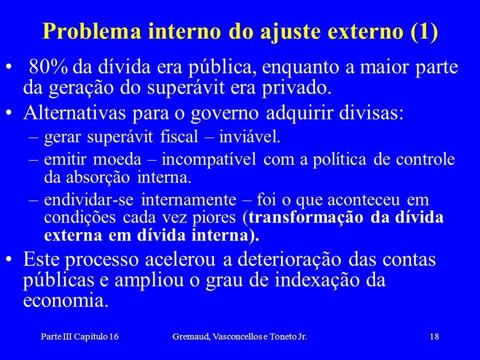 Parte III Capítulo 16Gremaud, Vasconcellos e Toneto Jr.18 Problema interno do ajuste externo (1) 80% da dívida era pública, enquanto a maior parte da