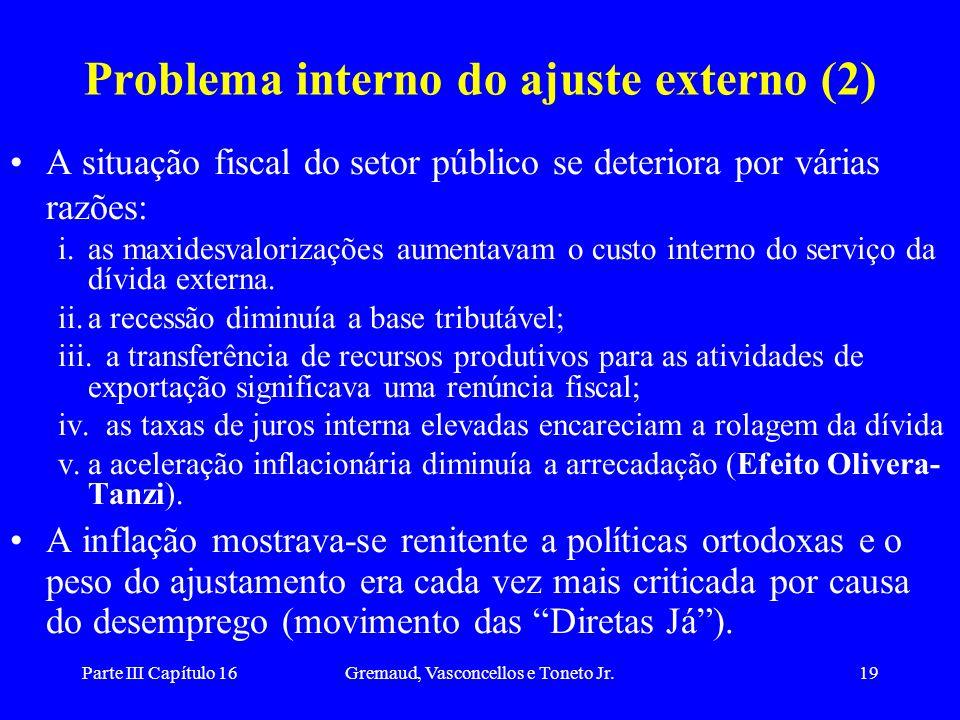 Parte III Capítulo 16Gremaud, Vasconcellos e Toneto Jr.19 Problema interno do ajuste externo (2) A situação fiscal do setor público se deteriora por v