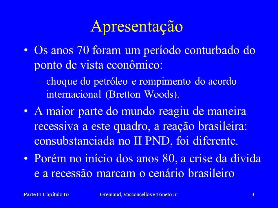 Parte III Capítulo 16Gremaud, Vasconcellos e Toneto Jr.3 Apresentação Os anos 70 foram um período conturbado do ponto de vista econômico: –choque do p