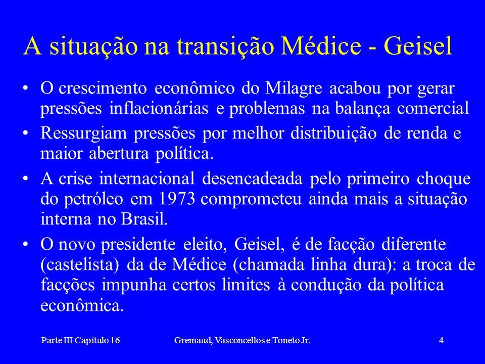 Parte III Capítulo 16Gremaud, Vasconcellos e Toneto Jr.4 A situação na transição Médice - Geisel O crescimento econômico do Milagre acabou por gerar p