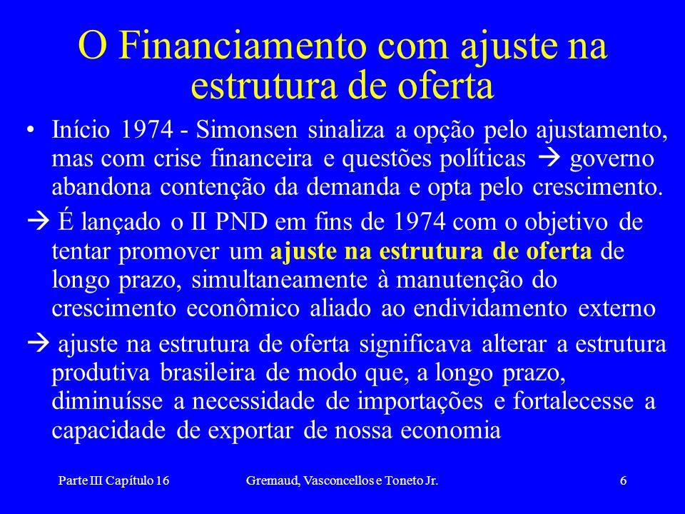 Parte III Capítulo 16Gremaud, Vasconcellos e Toneto Jr.6 O Financiamento com ajuste na estrutura de oferta Início 1974 - Simonsen sinaliza a opção pel