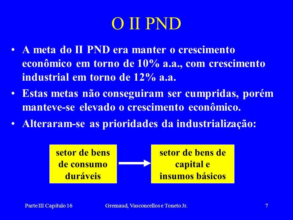 Parte III Capítulo 16Gremaud, Vasconcellos e Toneto Jr.8 Projetos do II PND redução na participação das importações no setor de bens de capital de 52% para 40%, além de gerar excedente exportável em torno de US$ 200 milhões.
