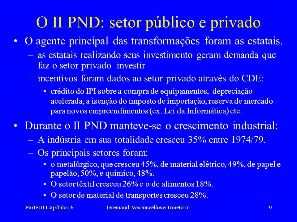 Parte III Capítulo 16Gremaud, Vasconcellos e Toneto Jr.10 Descentralização Espacial O II PND buscou atender à pressão pela modernização das regiões não industrializadas por meio da descentralização espacial dos projetos de investimento.
