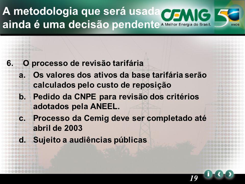 19 A metodologia que será usada ainda é uma decisão pendente 6.O processo de revisão tarifária a.Os valores dos ativos da base tarifária serão calculados pelo custo de reposição b.Pedido da CNPE para revisão dos critérios adotados pela ANEEL.