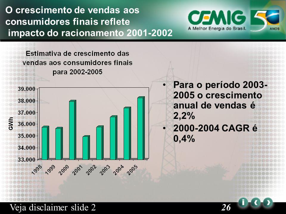 26 O crescimento de vendas aos consumidores finais reflete impacto do racionamento 2001-2002 Para o período 2003- 2005 o crescimento anual de vendas é 2,2% 2000-2004 CAGR é 0,4% Veja disclaimer slide 2