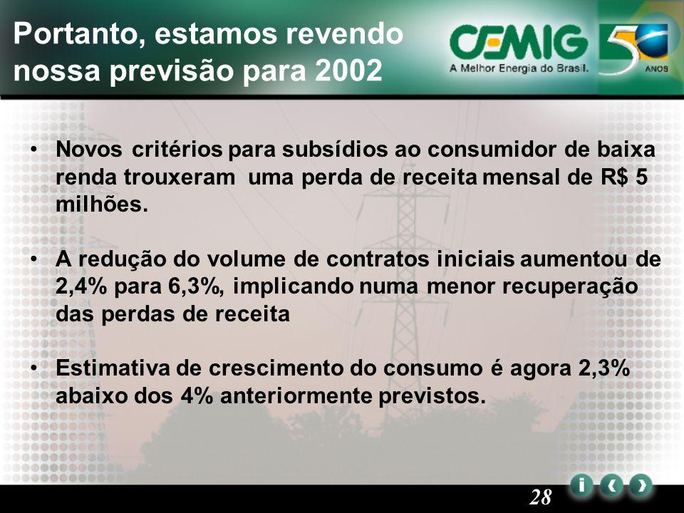 28 Portanto, estamos revendo nossa previsão para 2002 Novos critérios para subsídios ao consumidor de baixa renda trouxeram uma perda de receita mensal de R$ 5 milhões.