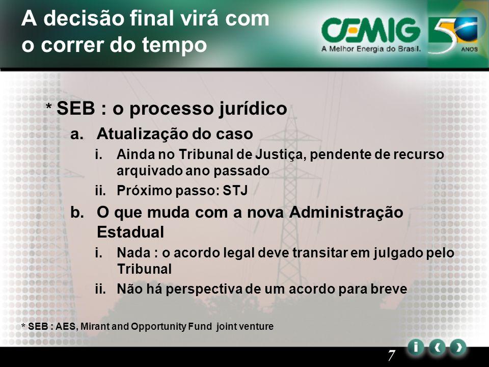 8 Negociações com o Governo para liquidar o acordo do setor 2.Negociações da CRC a.Negociações com o Governo Federal i.Valor total : R$ 1,1 bilhão ii.Taxa de desconto : 12% iii.