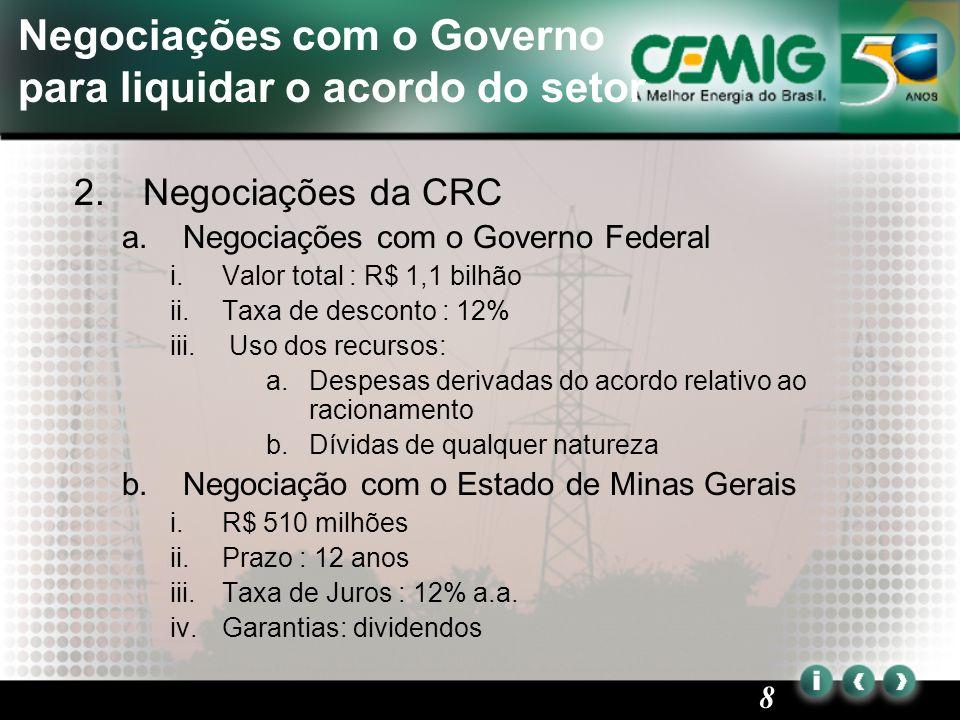 9 Cemig está tomando as medidas apropriadas para resolver o caso da CRC 3.CVM e SEC a)ANIMEC i.A Associação Brasileira de acionistas minoritários notificou à CVM reclamações sobre a inercia dos diretores acerca do recebimento da CRC.