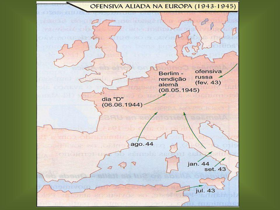 Invasão da Itália: Invasão da Itália: – Itália é invadida. – Mussolini sai do governo (julho, 1943). – Campanha da Itália presença de tropas brasileir