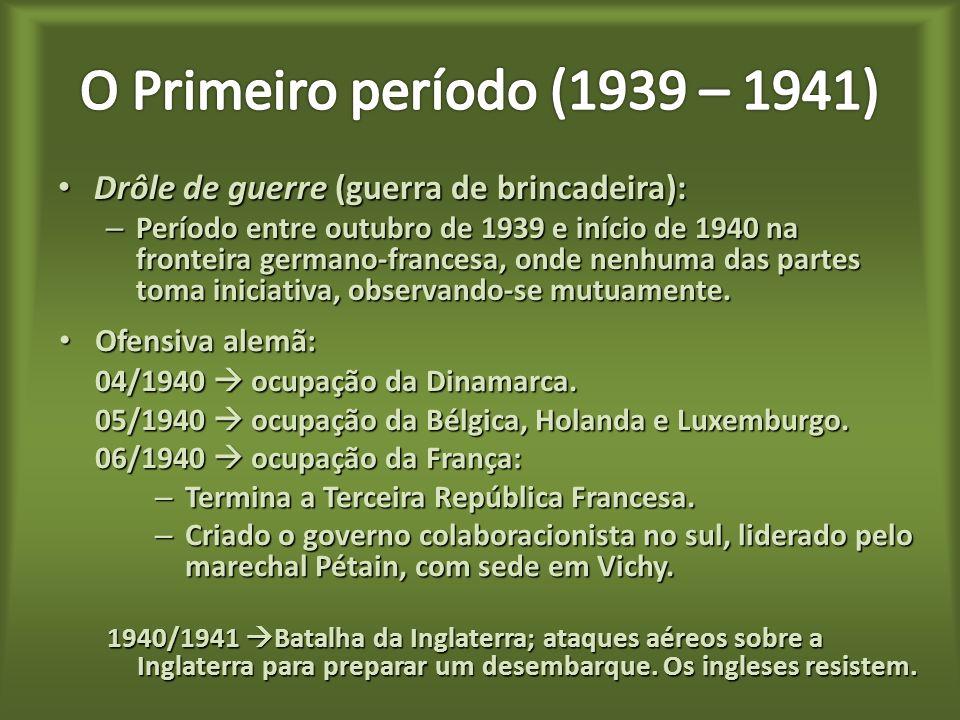 Drôle de guerre (guerra de brincadeira): Drôle de guerre (guerra de brincadeira): – Período entre outubro de 1939 e início de 1940 na fronteira germano-francesa, onde nenhuma das partes toma iniciativa, observando-se mutuamente.