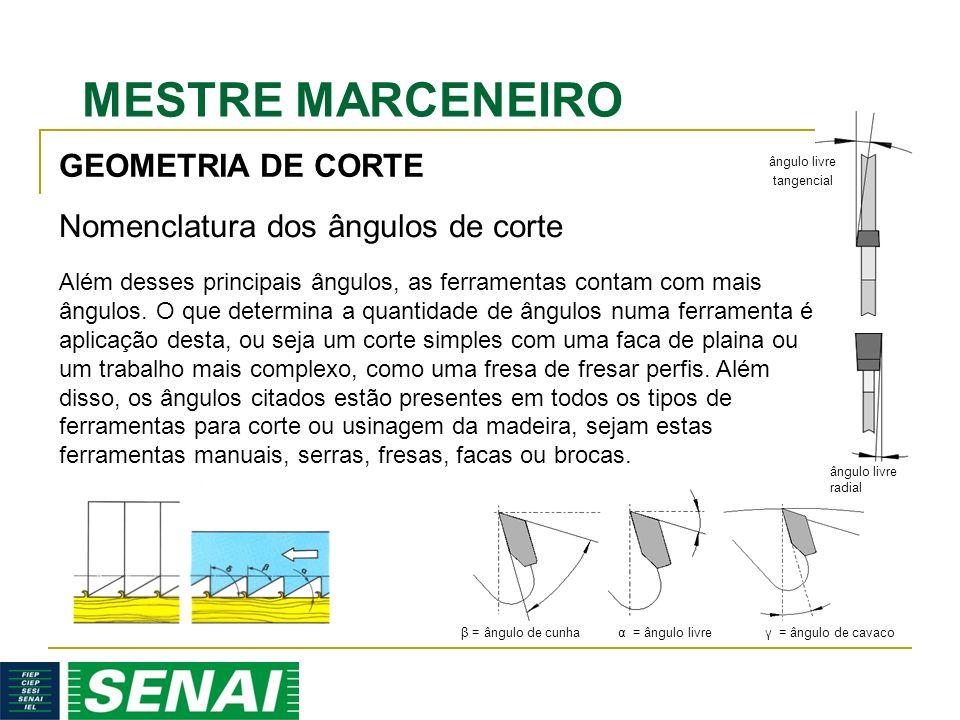 MESTRE MARCENEIRO GEOMETRIA DE CORTE Além desses principais ângulos, as ferramentas contam com mais ângulos. O que determina a quantidade de ângulos n