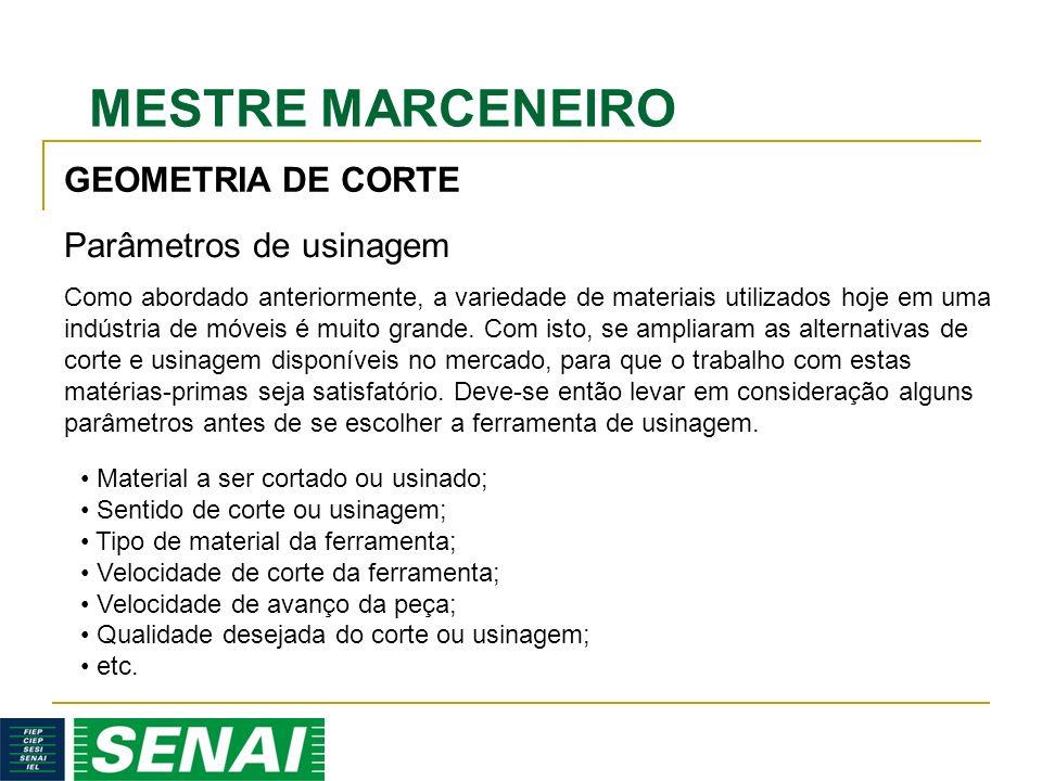 MESTRE MARCENEIRO GEOMETRIA DE CORTE Parâmetros de usinagem Como abordado anteriormente, a variedade de materiais utilizados hoje em uma indústria de