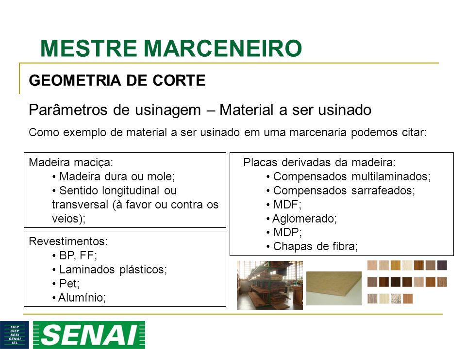 MESTRE MARCENEIRO GEOMETRIA DE CORTE Parâmetros de usinagem – Material a ser usinado Madeira maciça: Madeira dura ou mole; Sentido longitudinal ou tra