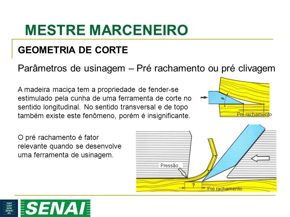 MESTRE MARCENEIRO GEOMETRIA DE CORTE Pressão Pré rachamento Parâmetros de usinagem – Pré rachamento ou pré clivagem A madeira maciça tem a propriedade