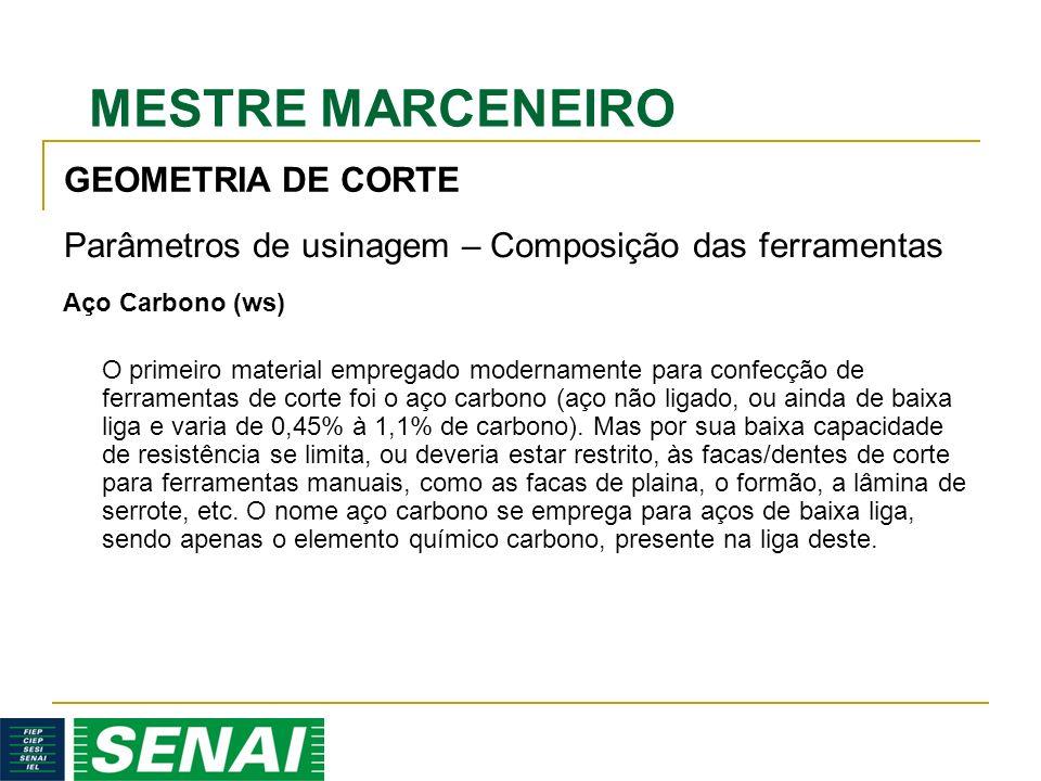 MESTRE MARCENEIRO Aço Carbono (ws) O primeiro material empregado modernamente para confecção de ferramentas de corte foi o aço carbono (aço não ligado