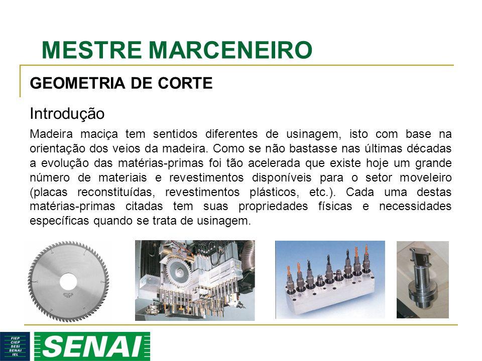 MESTRE MARCENEIRO GEOMETRIA DE CORTE Madeira maciça tem sentidos diferentes de usinagem, isto com base na orientação dos veios da madeira. Como se não
