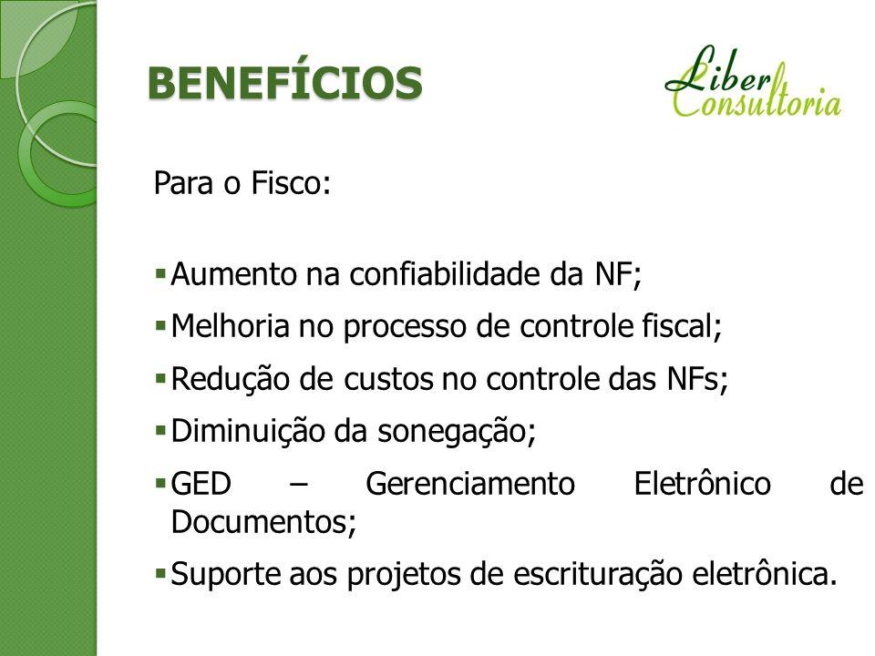 BENEFÍCIOS Para o Fisco: Aumento na confiabilidade da NF; Melhoria no processo de controle fiscal; Redução de custos no controle das NFs; Diminuição d