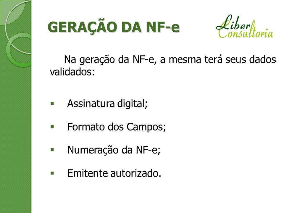 GERAÇÃO DA NF-e Na geração da NF-e, a mesma terá seus dados validados: Assinatura digital; Formato dos Campos; Numeração da NF-e; Emitente autorizado.