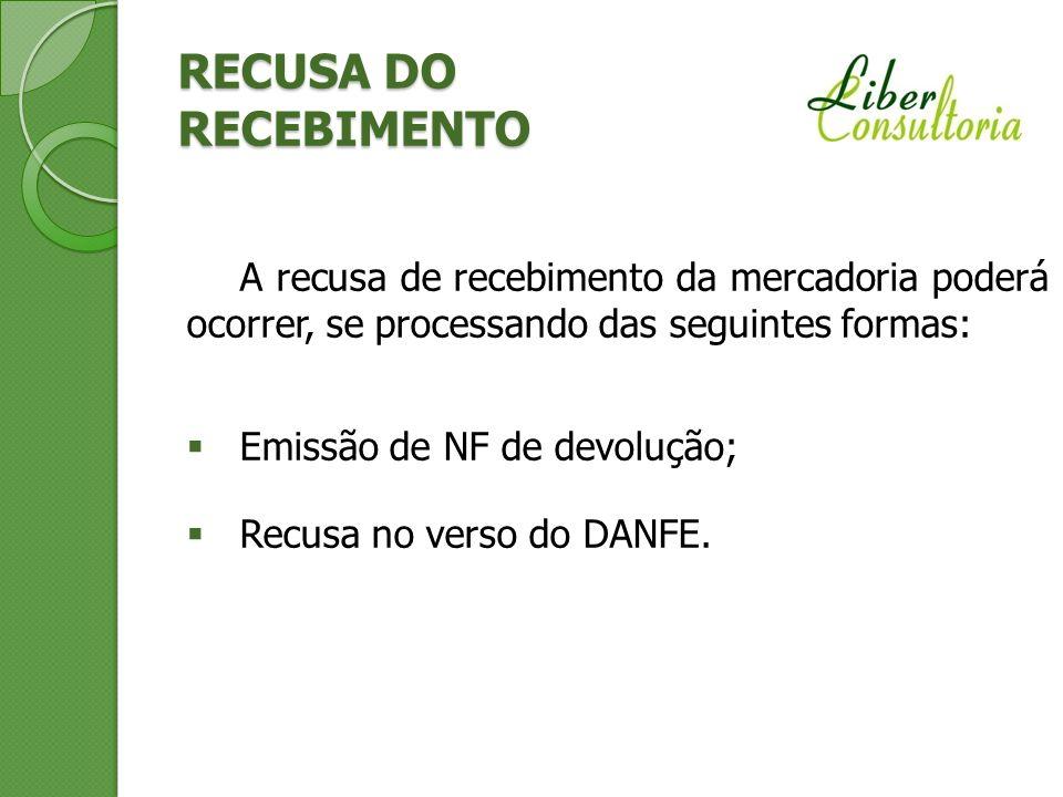 RECUSA DO RECEBIMENTO A recusa de recebimento da mercadoria poderá ocorrer, se processando das seguintes formas: Emissão de NF de devolução; Recusa no