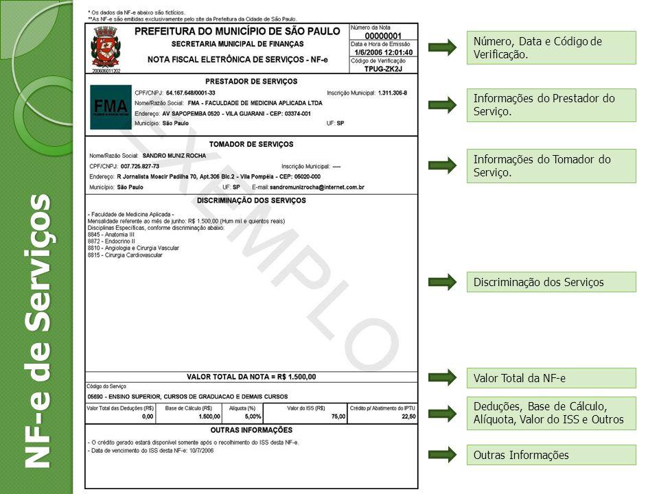 Número, Data e Código de Verificação. Informações do Prestador do Serviço. NF-e de Serviços Informações do Tomador do Serviço. Discriminação dos Servi