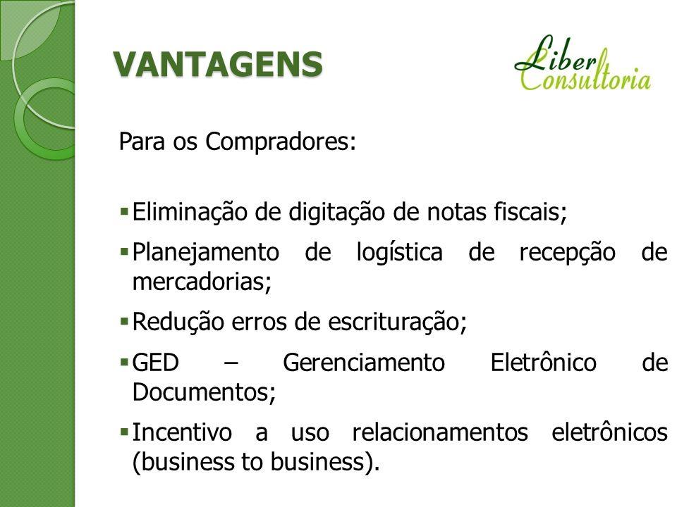 VANTAGENS Para os Compradores: Eliminação de digitação de notas fiscais; Planejamento de logística de recepção de mercadorias; Redução erros de escrit