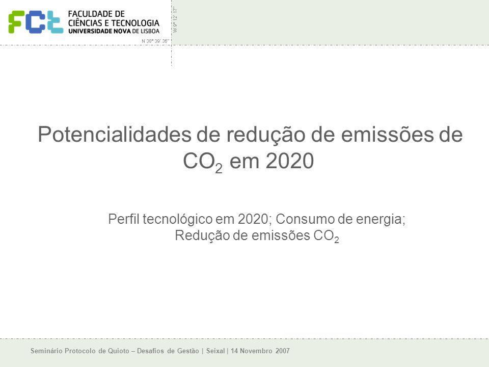 Seminário Protocolo de Quioto – Desafios de Gestão | Seixal | 14 Novembro 2007 Potencialidades de redução de emissões de CO 2 em 2020 Perfil tecnológico em 2020; Consumo de energia; Redução de emissões CO 2