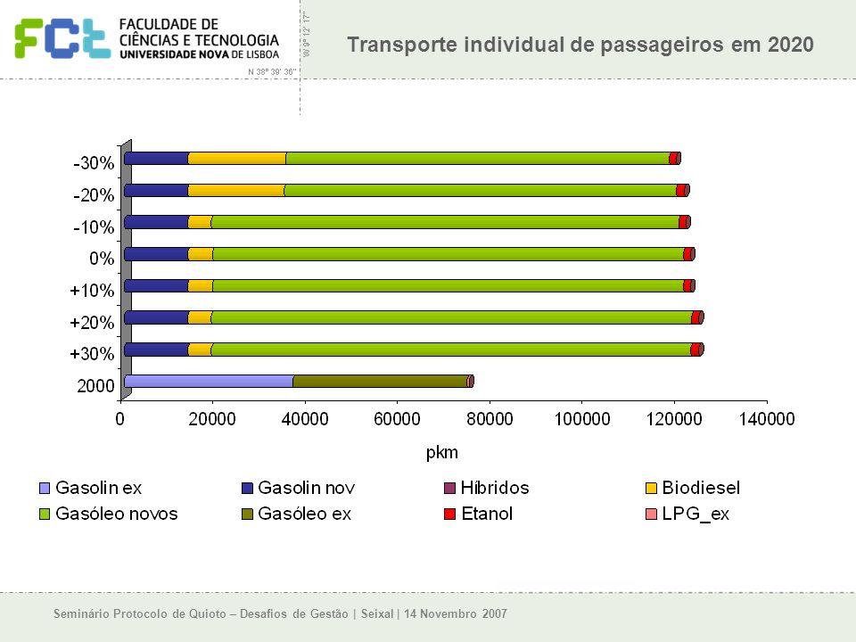 Seminário Protocolo de Quioto – Desafios de Gestão | Seixal | 14 Novembro 2007 Transporte individual de passageiros em 2020