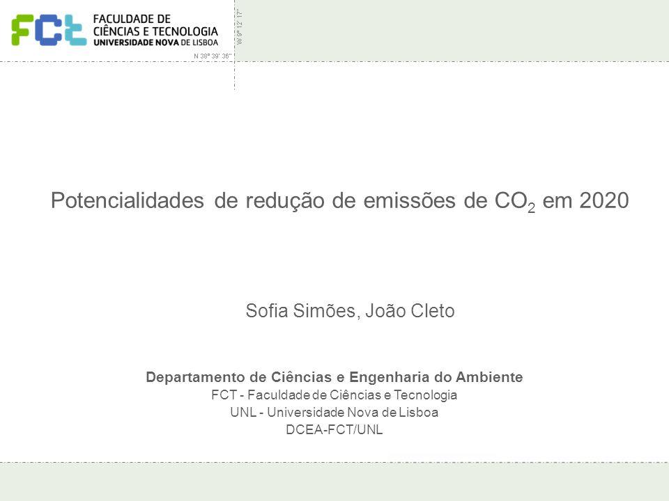 Seminário Protocolo de Quioto – Desafios de Gestão | Seixal | 14 Novembro 2007 Potencialidades de redução de emissões de CO 2 em 2020 Departamento de Ciências e Engenharia do Ambiente FCT - Faculdade de Ciências e Tecnologia UNL - Universidade Nova de Lisboa DCEA-FCT/UNL Sofia Simões, João Cleto