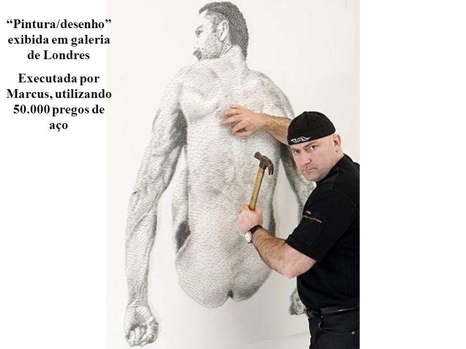 Pintura/desenho exibida em galeria de Londres Executada por Marcus, utilizando 50.000 pregos de aço