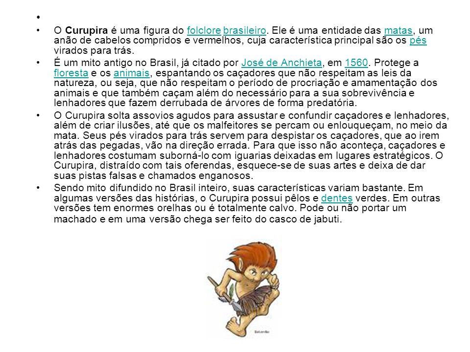 O Curupira é uma figura do folclore brasileiro. Ele é uma entidade das matas, um anão de cabelos compridos e vermelhos, cuja característica principal