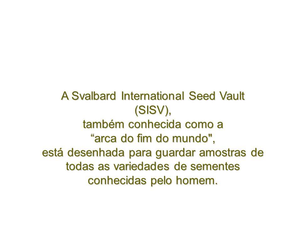 A Svalbard International Seed Vault (SISV), também conhecida como a arca do fim do mundo , está desenhada para guardar amostras de todas as variedades de sementes conhecidas pelo homem.