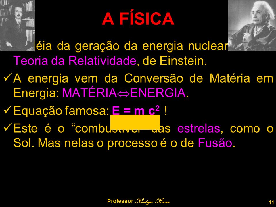 A idéia da geração da energia nuclear veio da Teoria da Relatividade, de Einstein.