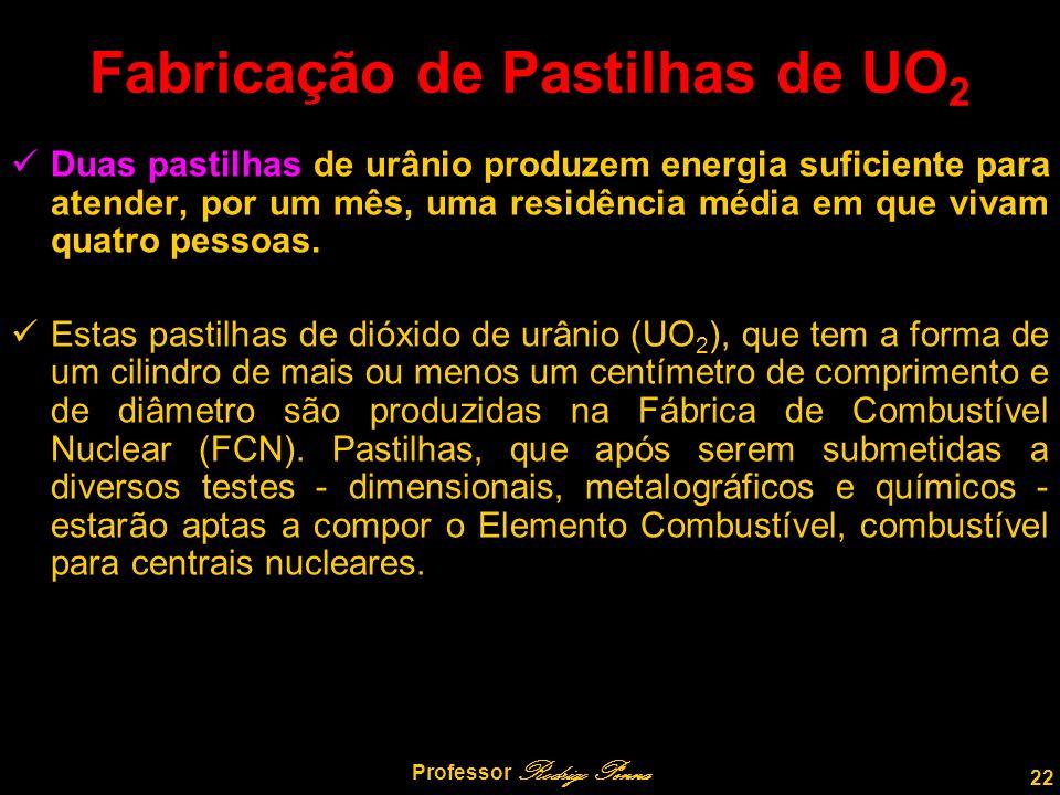 22 Professor Rodrigo Penna Fabricação de Pastilhas de UO 2 Duas pastilhas de urânio produzem energia suficiente para atender, por um mês, uma residência média em que vivam quatro pessoas.