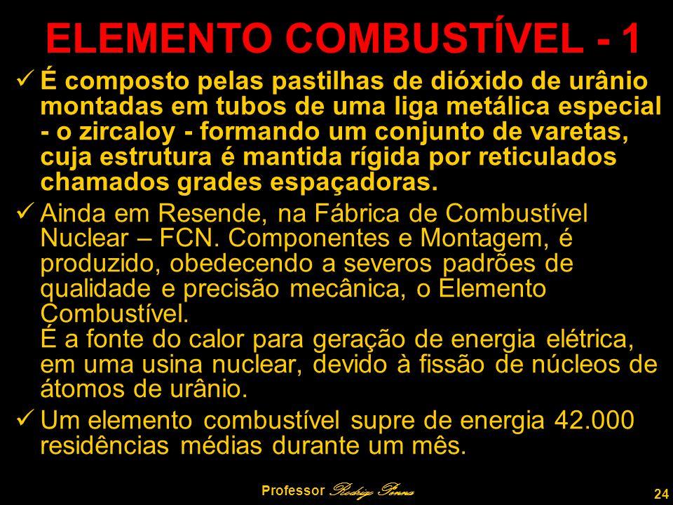 24 Professor Rodrigo Penna ELEMENTO COMBUSTÍVEL - 1 É composto pelas pastilhas de dióxido de urânio montadas em tubos de uma liga metálica especial - o zircaloy - formando um conjunto de varetas, cuja estrutura é mantida rígida por reticulados chamados grades espaçadoras.